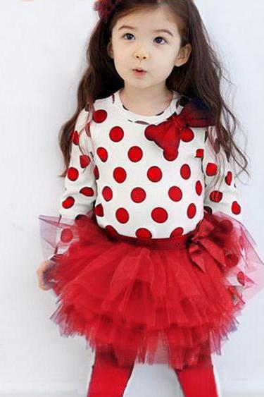 Red Polka Dots Clothing Set for Girls Red Polka Dots Tierred Tulle Leggings Girls Toddler Girls