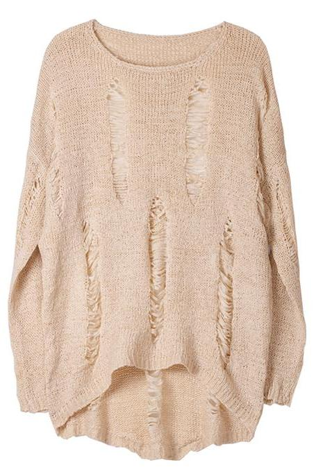 Korean Style Loose Fit Torn Ripped Sweater Knit Jumper Made In Korea Casual Long Oversized - Beige Or Grey