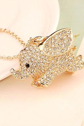 Studded Cute Elephant Necklace