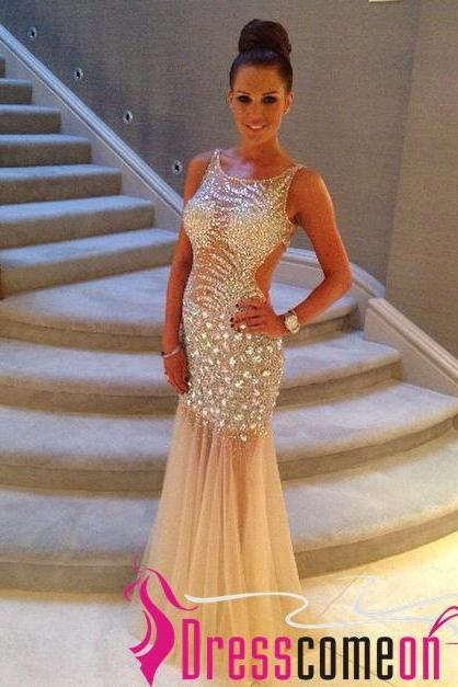 Sexy Champagne Prom Dress With Tulle, Floor Length Prom Dresses With Lace, Mermaid Prom Dresses,2015 Prom Dress
