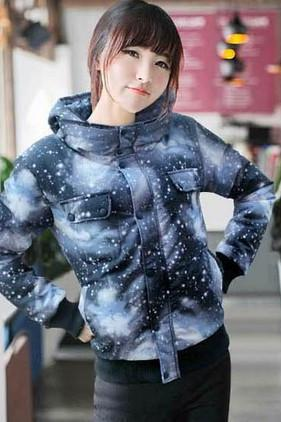 Harajuku Unisex Hooded Down Galaxy Jacket