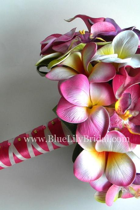 PINK Tropical Bridal Bouquet with Real Touch Plumerias, Calla's and Orchids - Made to Order