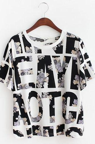 Retro Letters Graphic Floran Print Loose Short Sleeve T-Shirt