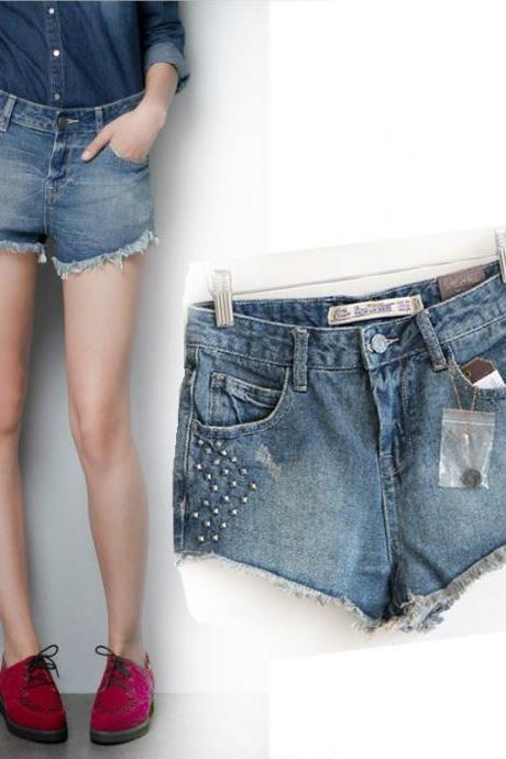 Rivet Denim Wash Short Punk Shorts