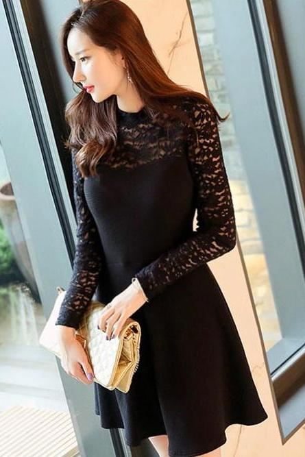 Slim Fit Lace Top Black Short Dress