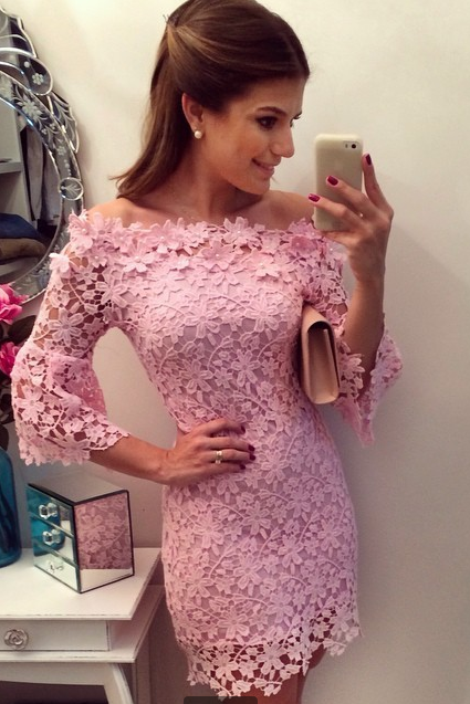 New arrival 2014 fashion sexy pink women lace dress crochet ladies evening party dress plus size mini casual winter dress