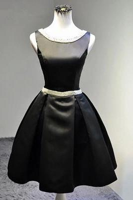High Quality Handmade Black Ball Gown Bridesmaid Dress with Pearl, Lovely Short Prom Dress, Prom Gown, Black Formal Dress