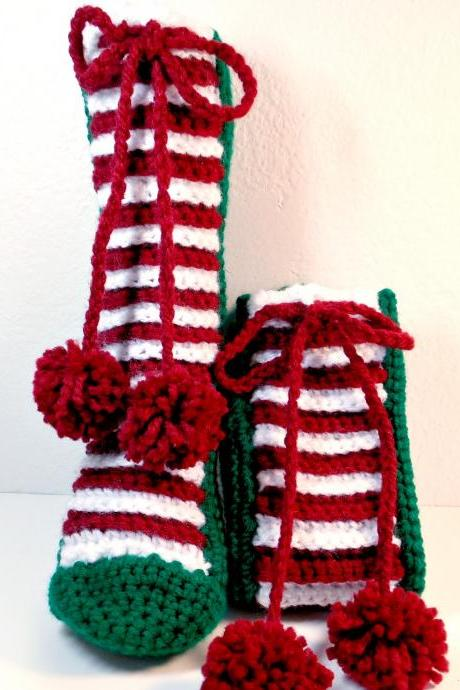 Christmas Slippers Crocheted One Size Fits All