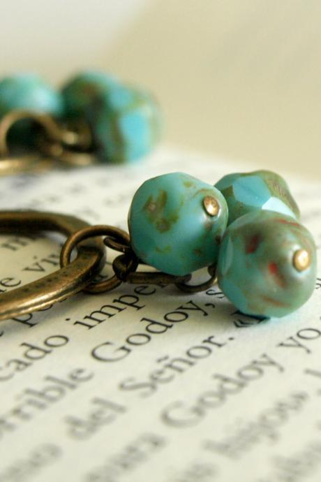 Brass and Turquoise Hoop Earrings-Cluster Boho Earrings