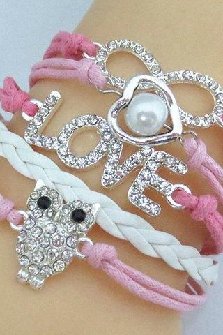 Cute Pink Owl and Infinity Charmed Bracelet