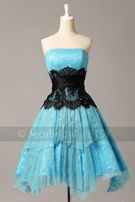 Vintage Inspired Blue & Black Lace Cocktails Graduation Dress Masquerade Outfit Party Dress Bridesmaid Dress