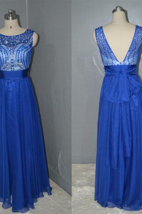 Royal Blue prom dress,Fashion beaded Backless chiffon Long Prom Dress,Long party Dress, Fashion evening dress New Arrival