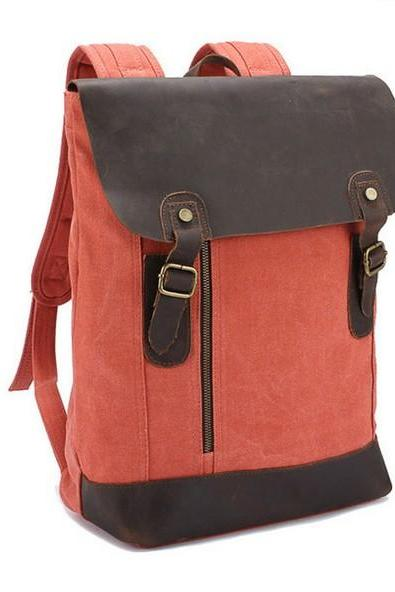 Retro Cowhide Leather Canvas Flip Backpack