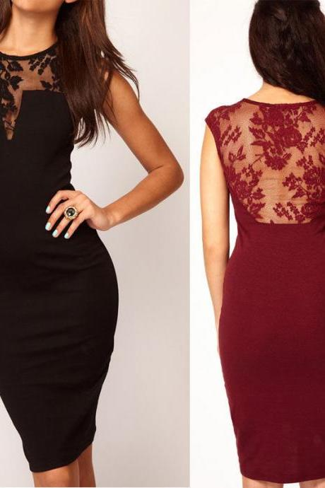 Lace Backless Bodycon Mini Slim Dress