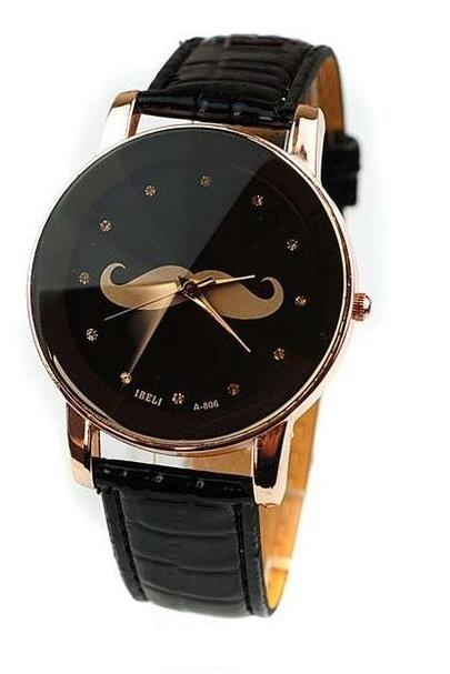 Mustache unisex leather strap cool school girl watch