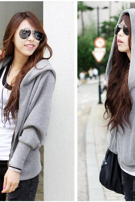 Loose Bat Sleeve Hooded Cardigan Sweater AA1119CB