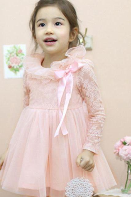 Pink Laces Dress Rosette Easter Dress for Girls Birthday Party Girls