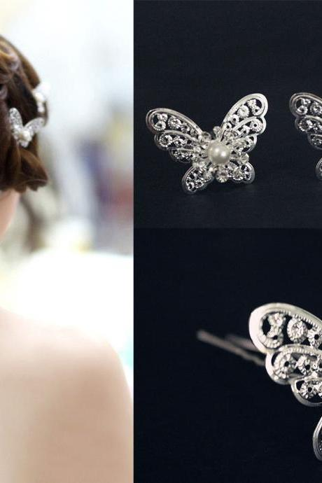 Wedding Jewelry 6 PCS Silver Big Butterfly Wedding Bridal Bride Prom Hair Bobby Pin