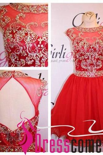 Short Baby Red Prom Dress, Lovely Prom Dress,Short Prom Dress, Tulle Prom Dress,Short/Mini Prom Dress With Beaded