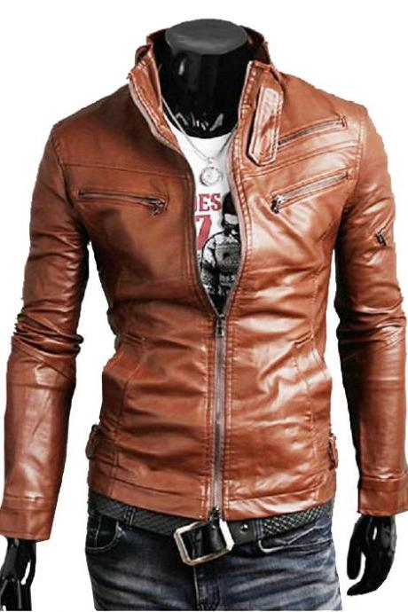 Handmade Custom New Men Slim Fit Sleeve Zipper Style Leather Jacket, men leather jacket, Leather jacket for men, Biker Leather Jacket, Motorcycle Jacket