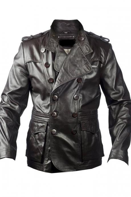 Handmade Custom New Men Classic Button Closure Stylish Leather Jacket, men leather jacket, Leather jacket for men, Biker Leather Jacket, Motorcycle Jacket