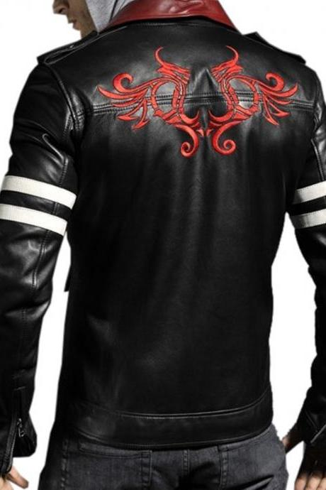 Handmade Custom New Men Slim Fit Stylish Embroidery Back Leather Jacket, men leather jacket, Leather jacket for men, Biker Leather Jacket, Motorcycle Jacket