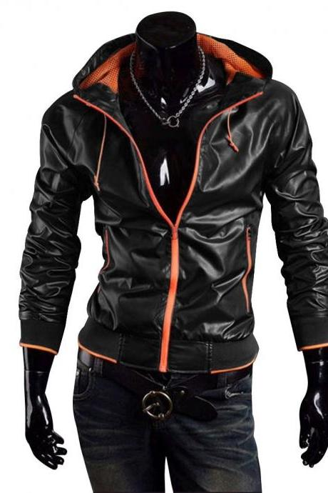 Handmade Custom New Men Slim Fit Stylish Hooded Chic Leather Jacket, men leather jacket, Leather jacket for men, Biker Leather Jacket, Motorcycle Jacket