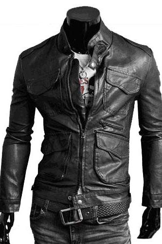 Handmade Custom New Men Slim Fit Fronts Stylish Pockets Leather Jacket, men leather jacket, Leather jacket for men, Biker Leather Jacket, Motorcycle Jacket