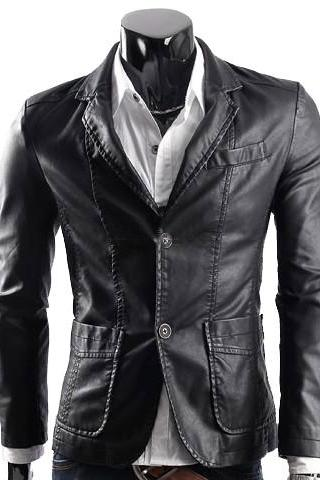 Handmade Custom New Men Slim Fit Double Button Closure Front Leather Jacket, men leather jacket, Leather jacket for men, Biker Leather Jacket, Motorcycle Jacket
