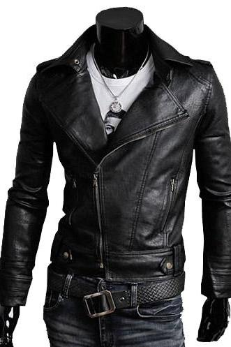 Handmade Custom New Men Slim Fit Unique Brando Style Leather Jacket, men leather jacket, Leather jacket for men, Biker Leather Jacket, Motorcycle Jacket
