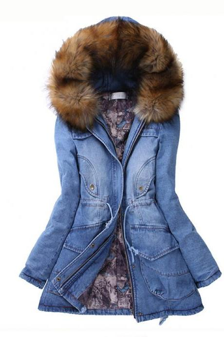 Stylish Hooded Long Sleeve Spliced Pocket Design Denim Coat For Women