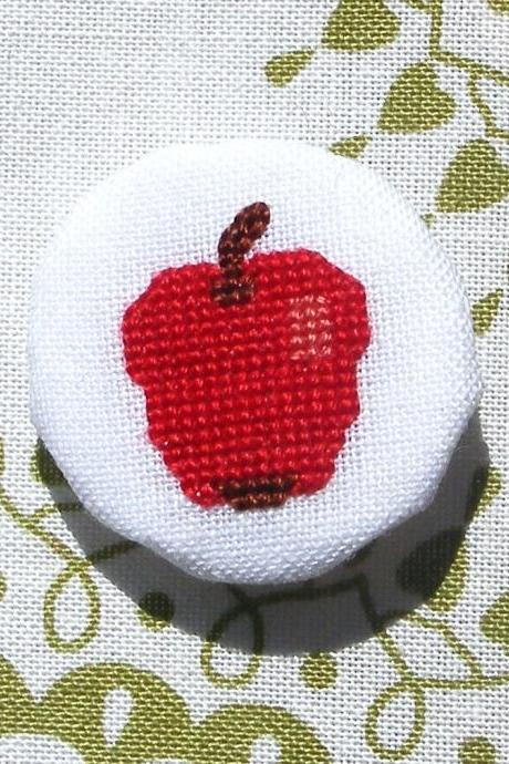 A is for Apple cross stitch brooch