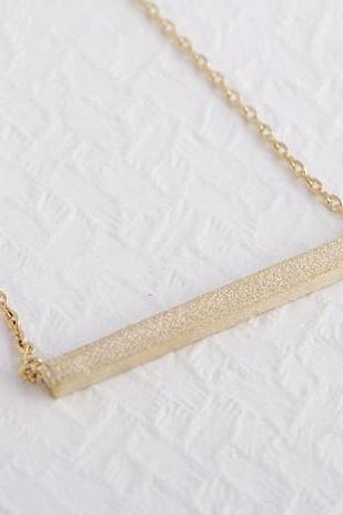 Strip Necklace 18K Gold silver Square Bar Necklace