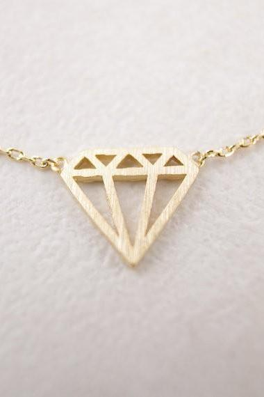 Flat Triangle Shaped Necklace In Gold and Silver Pendant Necklace