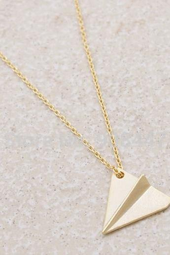 Charm Gold Silver Minimal Paper Plane Girl Gift In Gold and Silver Pendant Necklace