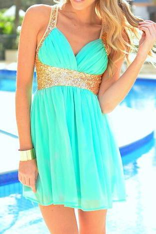 Sequined Cross Deep V Halter Dress Chiffon Skirt