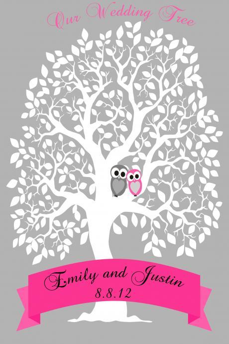 Personalized Wedding signature Tree, guestbook alternative 100 signatures 16x20