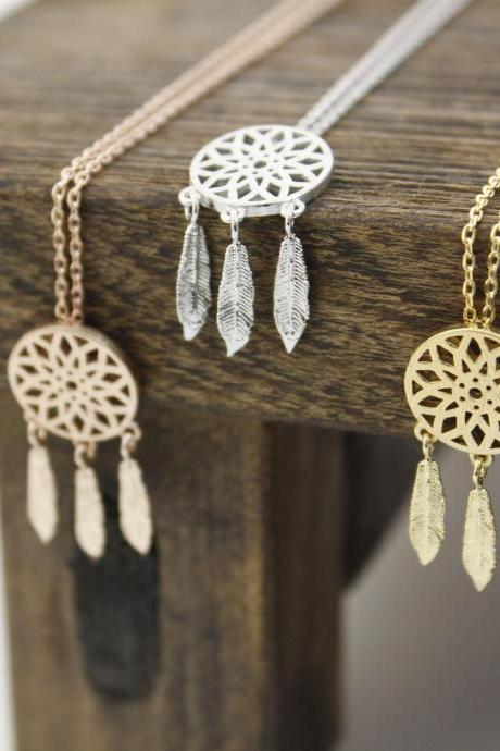 Dreamcatcher Necklace Dream Catcher Boho with Feathers Necklace in 3 colors, N0334K
