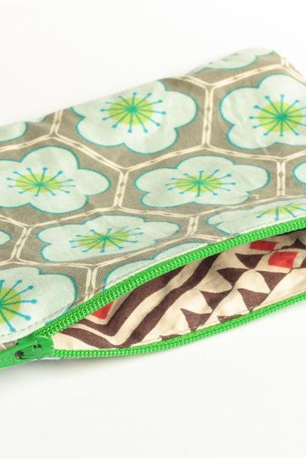 Zipper Pouch - Hexagons in Grey and Blue with Green Zipper