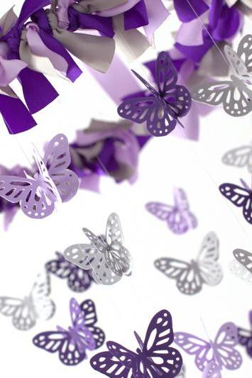 Purple, Lavender & Gray Butterfly Nursery Mobile