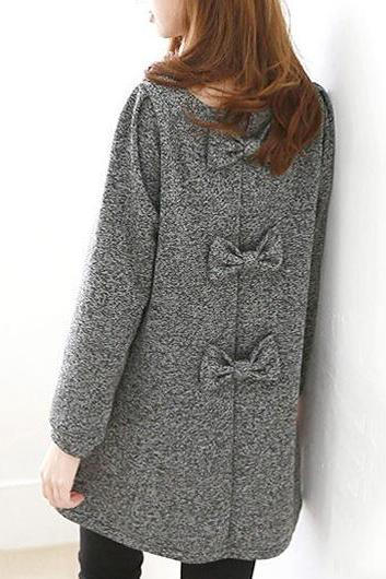 Chic Bow Decoration Long Sleeve Round Neck Dress - Grey