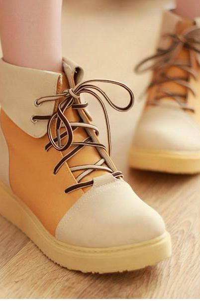 Spell Color Flat Boots With Thick Soles