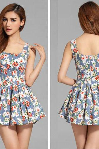 Sweet Floral Print Sleeveless Pleated Dress