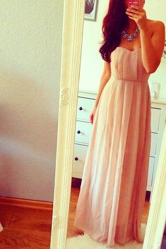 Simple and Lovely Sweetheart Pale Chiffon Pink Floor Length Prom Dresses 2015, Lovely Prom Gown, Evening Dresses, Bridesmaid Dresses