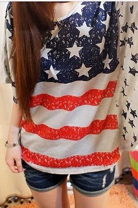 Fashion Vintage Bat Sleeve American Flag Shirt-White