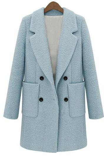 Comfy Turndown Collar Button Fly Woolen Coat For Lady - Blue