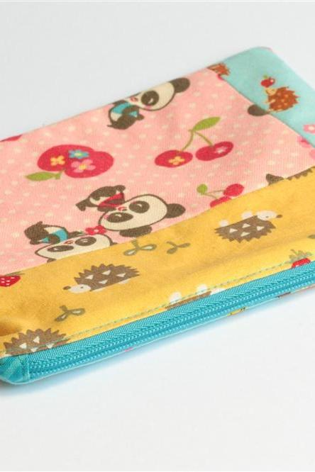Patchwork Pouch - Hedgehogs and Pandas
