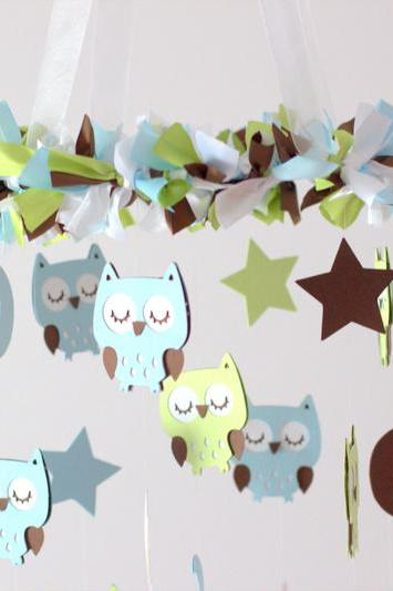 Owl Nursery Mobile in Baby Blue, Light Green, Brown & White