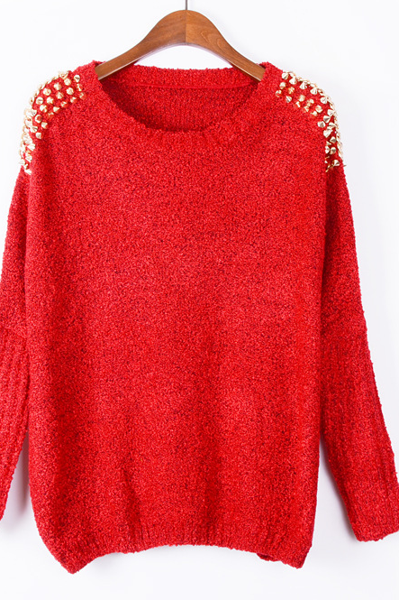 Red Crew Neck Long Sleeved Sweater Featuring Gold Studs