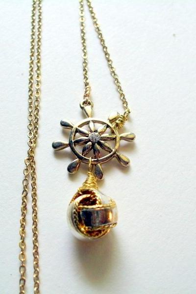 ship wheel and sailors knot necklace in gold metal